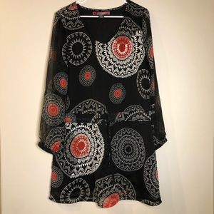 Desigual Black & Red Embroidered Long Sleeve Dress